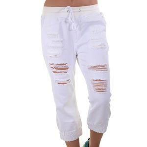 DISTRESSED WHITE DENIM WAIST TIE CAPRI PANTS